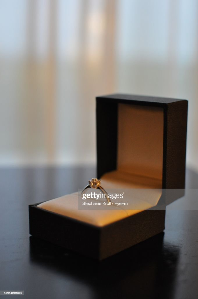 Close-Up Of Ring In Box On Table : Stock Photo