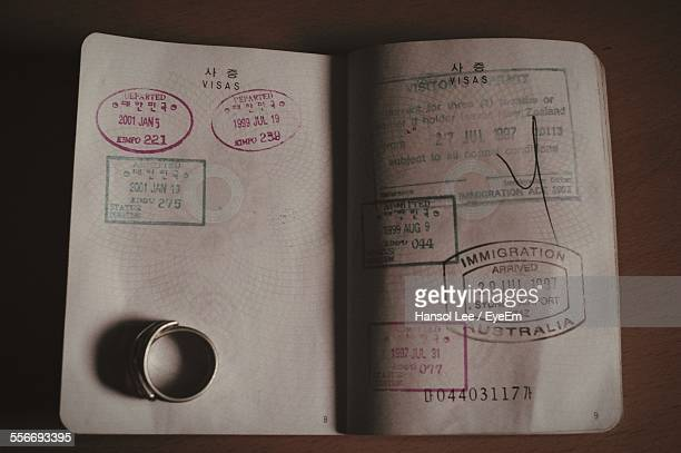Close-Up Of Ring On Passport