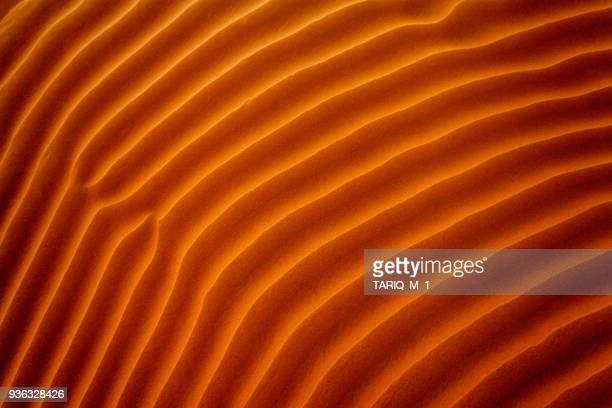 close-up of ripples in the sand, riyadh, saudi arabia - oranje stockfoto's en -beelden