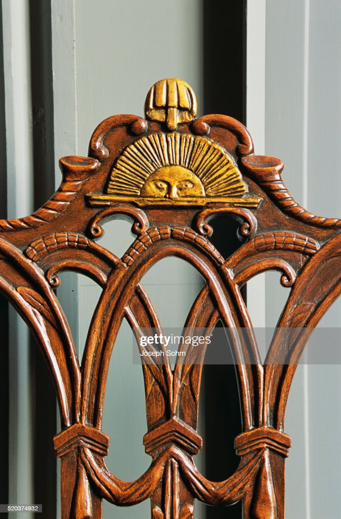 Beau Close Up Of Rising Sun Chair In Independence Hall : Stock Photo
