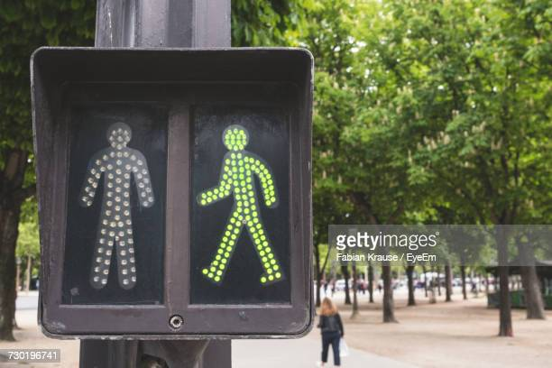 close-up of road sign against trees - pedestrian crossing sign stock photos and pictures