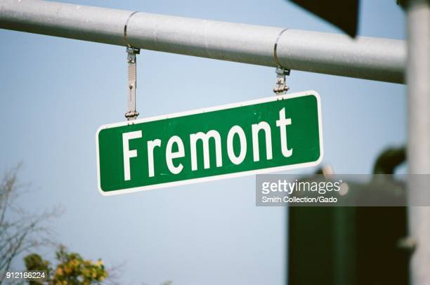 Closeup of road sign for Fremont in the Silicon Valley Fremont California August 17 2017