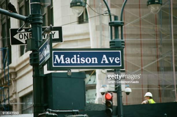 Closeup of road sign for Madison Avenue on the Upper East Side of Manhattan New York City New York September 15 2017
