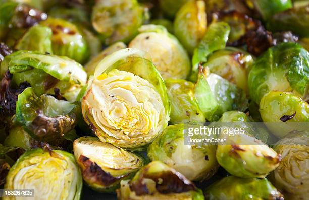 Close-up of roasted Brussels sprouts