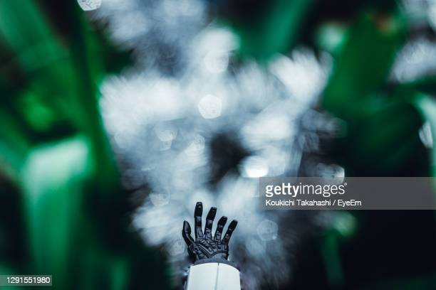 close-up of robot hand against plants - envision the future - 金融と経済 ストックフォトと画像