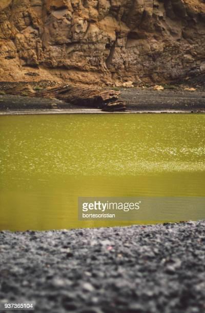 close-up of rock by lake - bortes photos et images de collection
