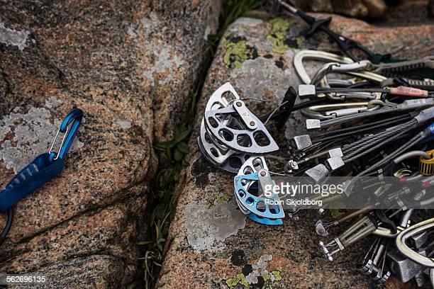 Closeup of rock climbing gear on cliff