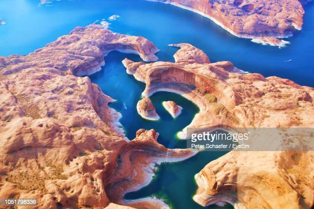 close-up of rock formations in sea - lake powell stock pictures, royalty-free photos & images