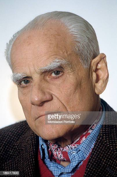 Closeup of Roman writer and journalist Alberto Moravia born Alberto Pincherle one of the most representative novelists of the XX century whose novels...