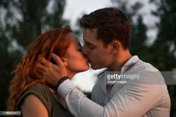close-up of romantic couple kissing while sitting against trees during sunset - embrasser sur la bouche photos et images de collection