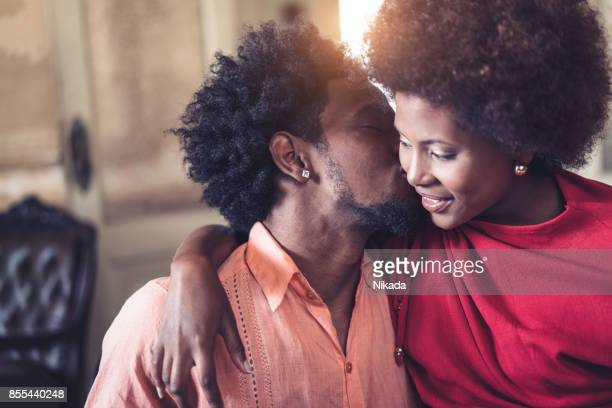 Close-up of romantic young couple looking at each other