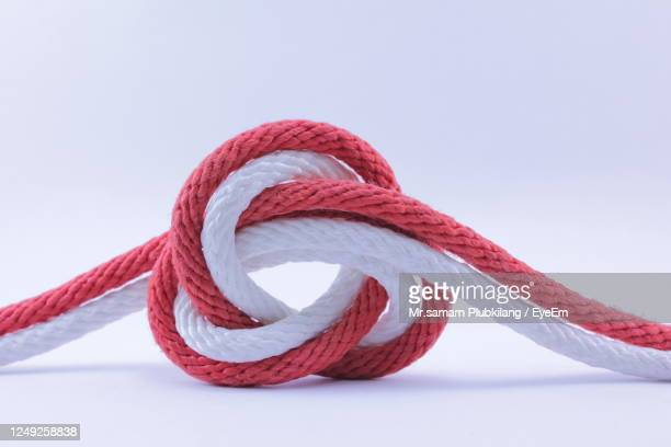 close-up of rope against white background - tied knot stock pictures, royalty-free photos & images