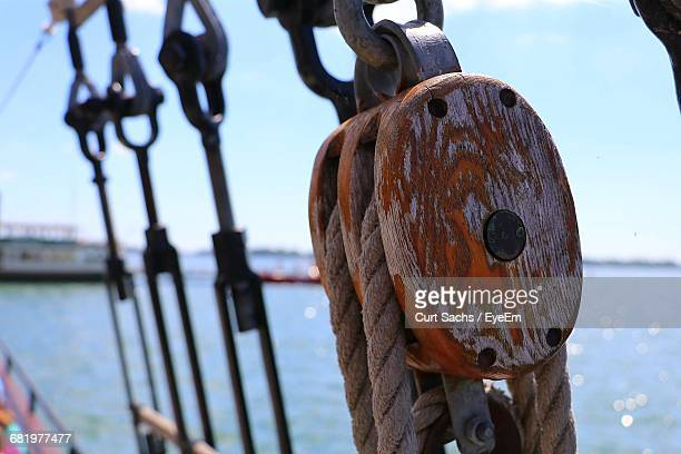 Close-Up Of Rope On Pulley