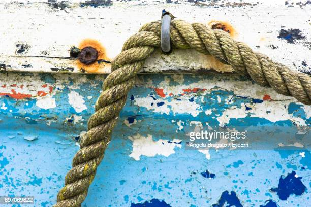 Close-Up Of Rope On Wooden Boat