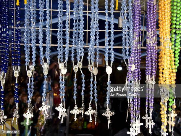 Close-Up Of Rosary Beads For Sale In Market