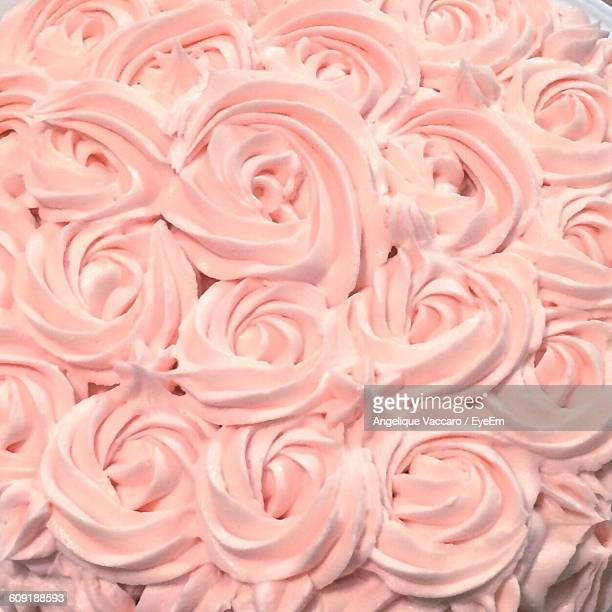 Close-Up Of Rose Cream Cake