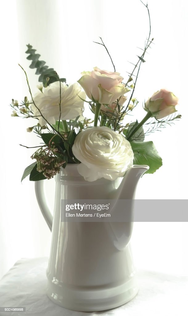 Closeup Of Roses In Vase On Table Against White Background Stock