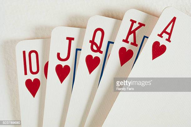 close-up of royal flush - royal flush stock photos and pictures