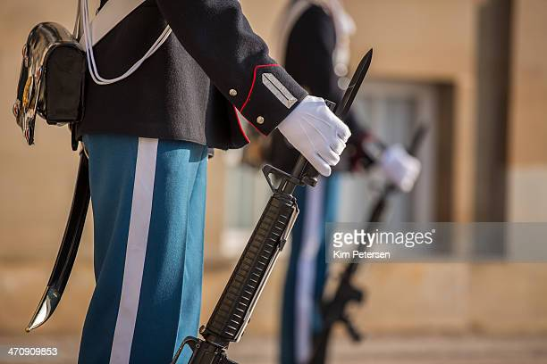 Close-up of Royal Life Guards and rifles in front of Amalienborg Palace, Copenhagen, Denmark