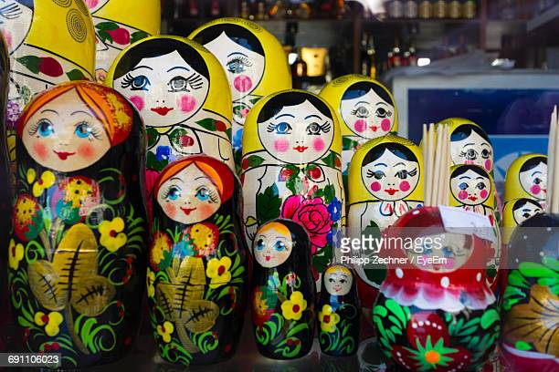Close-Up Of Russian Nesting Dolls For Sale At Market Stall
