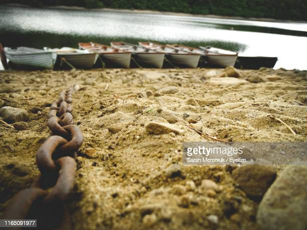 close-up of rusty chain at beach - sarah hardy stock pictures, royalty-free photos & images
