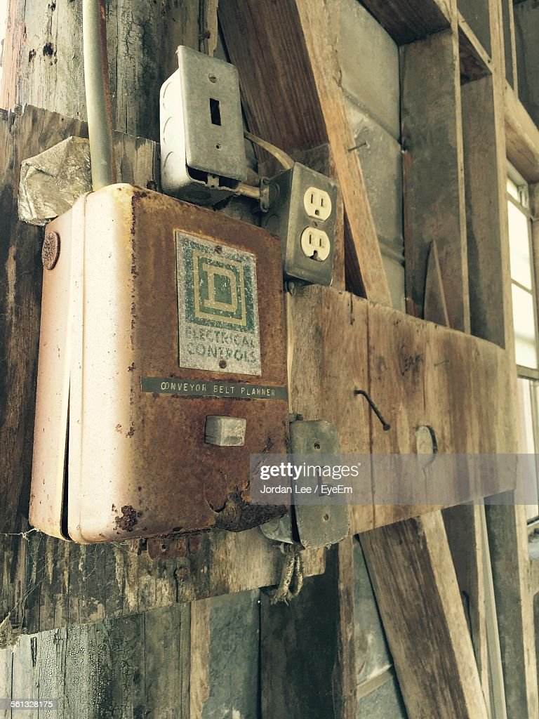 Closeup Of Rusty Fuse Box In Abandoned House Stock Photo Getty Images Main Close Up