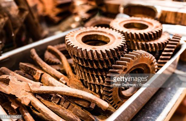 close-up of rusty machine parts - deterioration stock photos and pictures