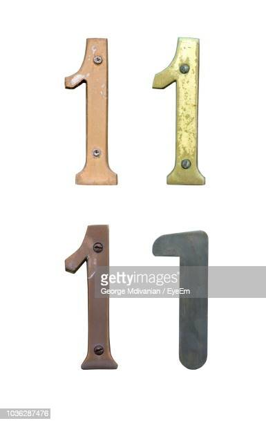 Close-Up Of Rusty Metallic Numbers Over White Background