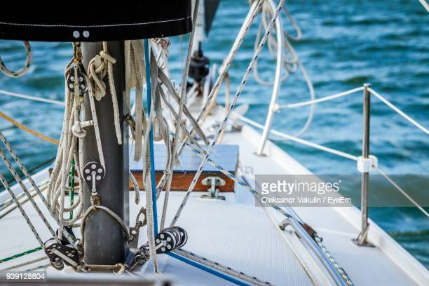 Close-Up Of Sailboat Sailing In Sea