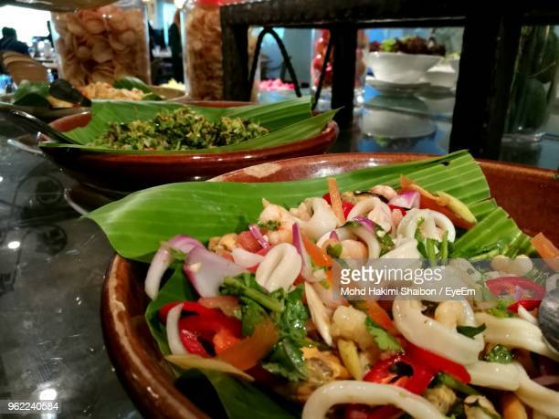 close-up of salad in bowl at restaurant - hakimi stock photos and pictures