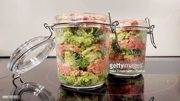close-up of salad in jars - jars with salad stock pictures, royalty-free photos & images