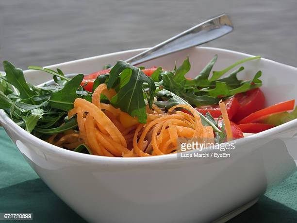 Close-Up Of Salad Served In Bowl On Table