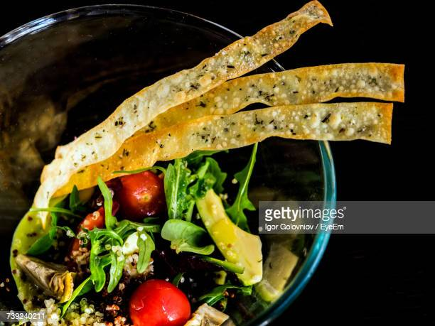 close-up of salad served in bowl - igor golovniov stock pictures, royalty-free photos & images