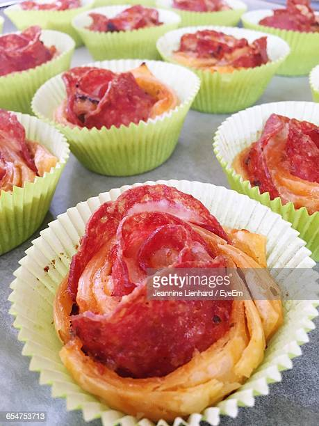 close-up of salami roses on table - lienhard stock pictures, royalty-free photos & images