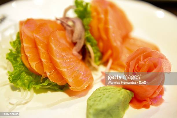 Close-Up Of Salmon Sashimi Served In Plate