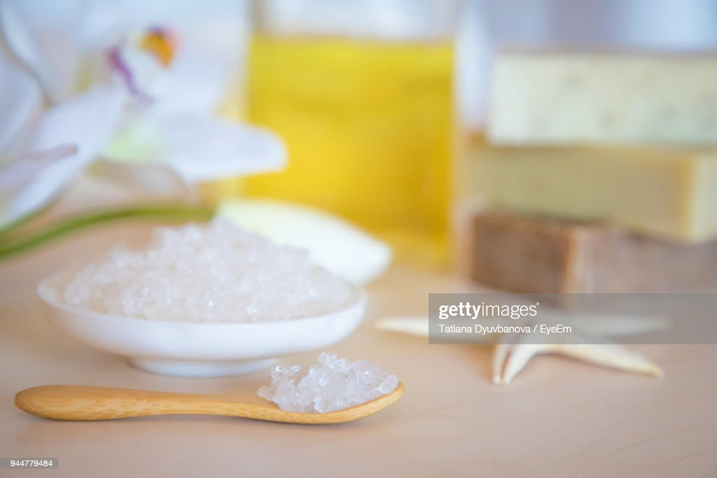 Close-Up Of Salt And Starfish On Table At Spa : Stock Photo