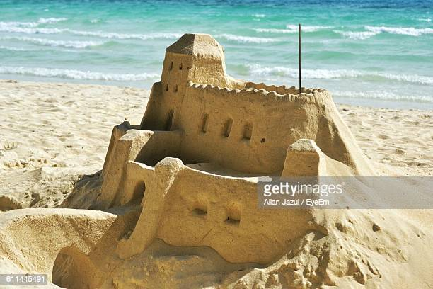 Close-Up Of Sand Castle On Beach