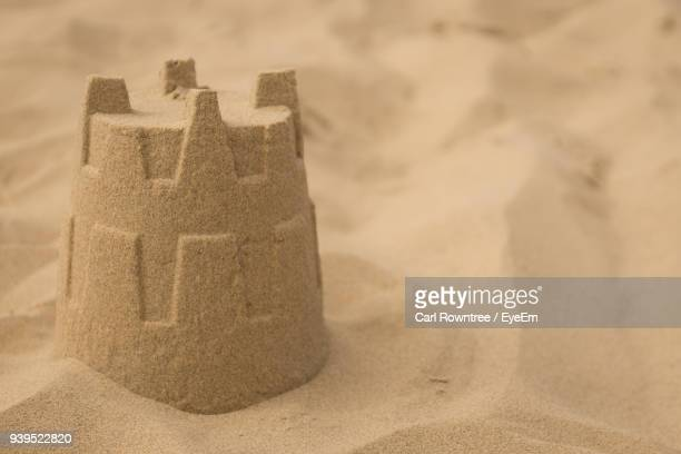 Close-Up Of Sandcastle At Beach