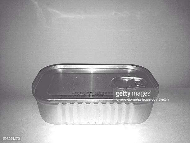 Close-Up Of Sardine Can On Gray Background