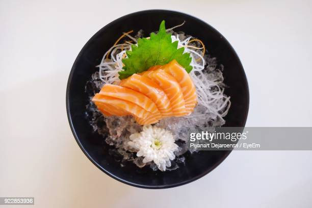 Close-Up Of Sashimi Served In Bowl