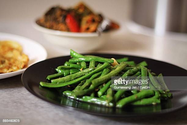 Close-Up Of Saute Green Beans In Plate