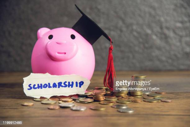 close-up of scholarship text with piggy bank and coins on table - stipendium stock-fotos und bilder