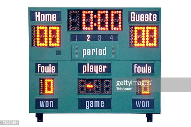 close-up of scoreboard in a school gymnasium. - scoreboard stock pictures, royalty-free photos & images