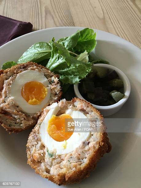 Close-up of scotch eggs on plate