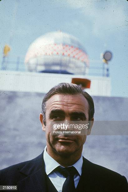 Closeup of Scottish actor Sean Connery in a still from the film 'Diamonds Are Forever' directed by Guy Hamilton 1971