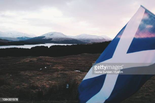 close-up of scottish flag on field against snowcapped mountains - scotland flag stock photos and pictures