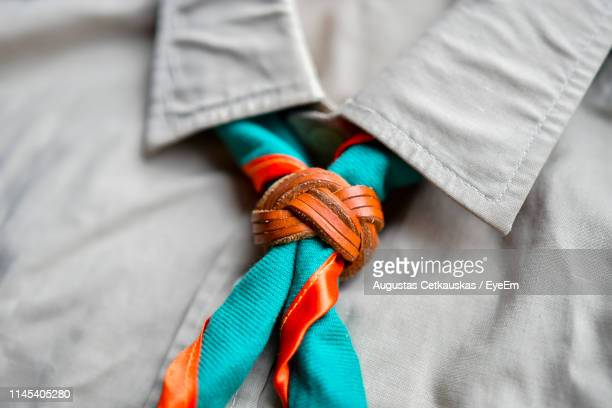 close-up of scout necktie - uniform stock pictures, royalty-free photos & images