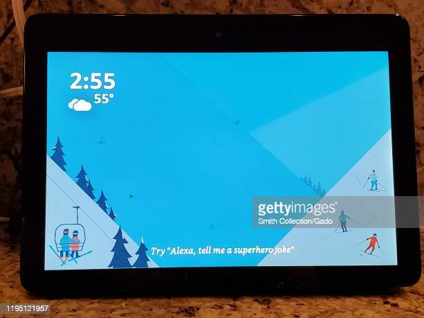 Closeup of screen of the Amazon Echo Show smart speaker device with Amazon Alexa in a smart home in San Ramon California December 17 2019