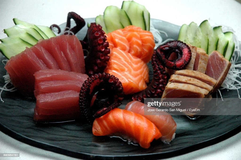 Close-Up Of Seafood In Plate : Foto de stock