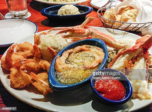 Close-Up Of Seafood On Table Restaurant
